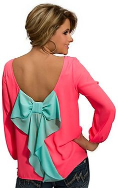 Karlie® Womens Neon Coral with Turquoise Bow 3/4 Sleeve Blouse Fashion Top | Cavenders Boot City $58
