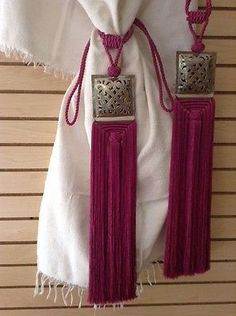 Pair of Moroccan Silk Curtain Tassel Caidal Tieback Silver Carved Brass Fuschia