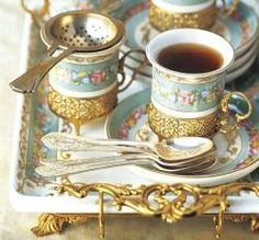 gold and china tea service