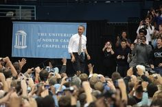 Obama takes the stage at UNC April 24, 2012