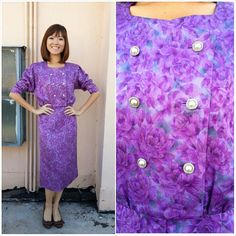 Vintage Dress/ Radiant Orchid Purple Dress/ by HEIRESSxVintage, $42.00