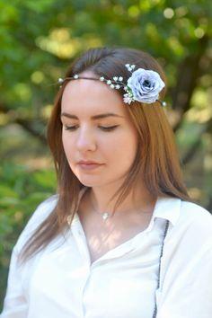 Wedding floral crown Gray blue rose hair wreath Bridal flower crown Blue wedding head piece Boho wedding floral headband Serenity crown