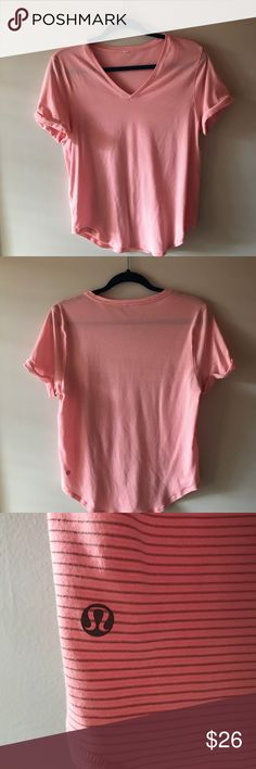 Lulu Tee Adorable light pink lulu tee in excellent condition! This is my favorite color but it's just too big. Feel free to make an offer! lululemon athletica Tops Tees - Short Sleeve