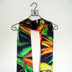 A personal favorite from my Etsy shop https://www.etsy.com/listing/258379212/bird-of-paradise-silk-satin-scarf-15x60