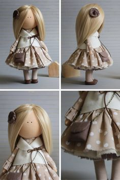 Rag doll blonde grey colors Handmade doll by AnnKirillartPlace