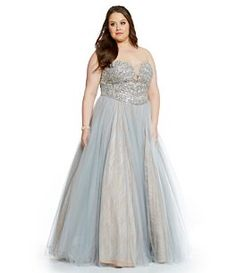 Glamour by Terani Couture Plus Strapless Beaded Bodice Ball Gown