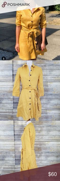 7a84658f NWT Zara Yellow Linen Belted Shirt Dress Mustard yellow shirt dress tunic.  Tunic with a