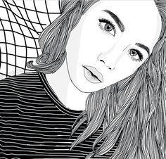 black line drawings Tumblr Outline, Outline Art, Outline Drawings, Cool Drawings, Drawing Sketches, Tumblr Girl Drawing, Tumblr Drawings, Tumblr Art, Tumblr Girls