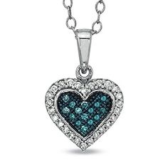 10Kt White Gold Blue  White Diamond Heart Shape Pendant >>> More info could be found at the image url.Note:It is affiliate link to Amazon.