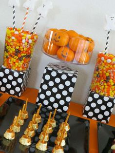 Cute treats at a kids' Halloween party!  See more party planning ideas at CatchMyParty.com!