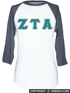 Zeta Tau Alpha Poly-Cotton 3/4 Sleeve Raglan with Letters