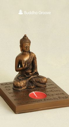 Bronze finish Buddha statue tea-light holder depicts text from the sacred Heart Sutra. Meditation Altar, Chakra Meditation, Personal Altar, Heart Sutra, Mahayana Buddhism, Buddha Statues, Cast Stone, Tea Light Holder, Tea Lights