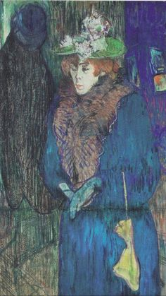 Henri de Toulouse-Lautrec, 1892, Jane Avril enters at the Moulin Rouge, Oil and pastel on cardboard.
