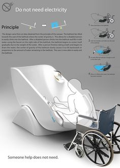 The Flume 'Seesaw' Tub for the physically disabled. Designers: Kim Jung Su, Yoon Ji Soo, and Kim Dong Hwan. Kim Dong, Ji Soo, Handicap Bathtub, Wheelchairs, Two Person Bathtub, Awesome Inventions, New Inventions, Yanko Design, Daily Activities