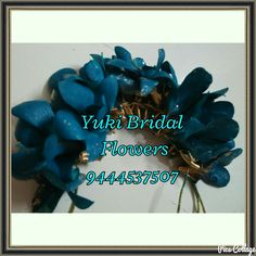Veni or Gajra made with bright blue flowers #indian-brides