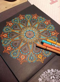 Mandala on coloured paper Mandala Art, Mandala Design, Mandala Drawing, Mandala Painting, Dot Painting, Painting & Drawing, Mandala Tattoo, Zentangle Patterns, Zentangles