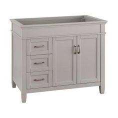 Home Decorators Collection Ashburn 36 in. D Vanity Cabinet in Grey - The Home Depot Bathroom Vanity Cabinets, Bathroom Medicine Cabinet, Small Kitchen Cart, Complete Bathrooms, Wood Veneer, Cabinet Doors, Drawers, Home, Design