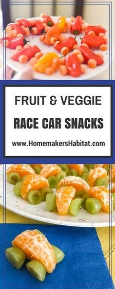 Race Car Treats made from healthy fruit and veggies: Clementine segment + grapes + toothpicks = Fruit Race Car Mini bell pepper + baby carrot + toothpicks = Veggie Race Car