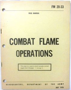 Military Book - Combat Flame Operations - July 1970 - Paperback