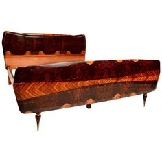 Italian Exotic Burl Rosewood Bed After Borsani | From a unique collection of antique and modern beds at https://www.1stdibs.com/furniture/more-furniture-collectibles/beds/
