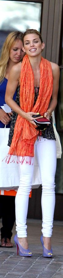 Annalynne McCord.  Summer colors. Summer accents.  Coral and lavender