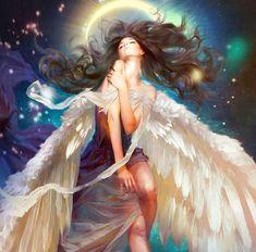 Фото Девушка - ангел на фоне луны