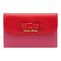 Miu Miu Madras Bow small wallet $515 red pink