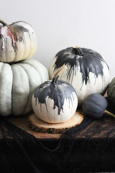 Crayons melted over pumpkins