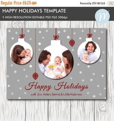 Christmas Card Template For Photographers And Personal Use 5x7