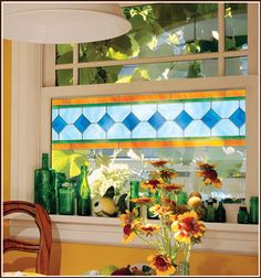 Blue Green Gold Border ( set of Stained Glass Window Film Cling Adhesive-Free Stained Glass Window Film, Faux Stained Glass, Stained Glass Mirror, Mirrored Wallpaper, Window Clings, Window Art, Window Ideas, Window Panels, Window Films