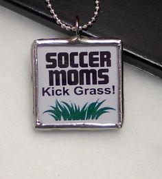 Soccer Moms Kick Grass ~ soldered glass tile pendant by The PENDANT Studio $9.00