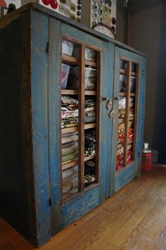 Old Pie Safe for storing fabric, doing this when we buy a house! this WILL be in my craft room eventually! Primitive Furniture, Antique Furniture, Painted Furniture, Modern Furniture, Furniture Design, My Sewing Room, Sewing Rooms, Antique Pie Safe, Fabric Storage