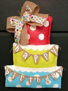 Happy Birthday Cake Burlap Door Hanger