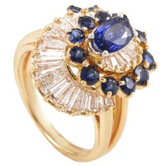 Oscar Heyman Sapphire Diamond Platinum Gold Ring | From a unique collection of vintage more rings at https://www.1stdibs.com/jewelry/rings/more-rings/