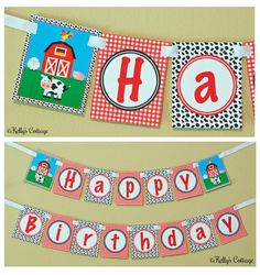 Barnyard Birthday Banner Instant Download by KellysCottageShoppe, $3.50