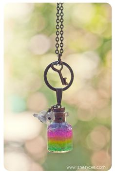 Rainbow bottle Necklace. Glitter Rainbow gel and by 13thPsyche