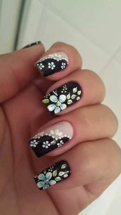 Flower nail designs are perfect for Teen Girls. There are many choices of flower nail designs for you. Flower Nail Designs, Simple Nail Art Designs, Flower Nail Art, Easy Nail Art, Trendy Nails, Cute Nails, My Nails, Pastel Nail Art, Fingernail Designs