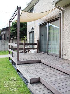 ウッドデッキ タープ付き Swimming Pool Decks, Backyard, Patio, Balcony Design, Wooden Fence, Outdoor Living, Outdoor Decor, Home Deco, Pergola