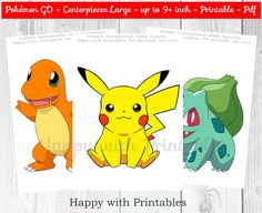 ^-^ INSTANT DOWNLOAD ^-^  Pokémon GO Centerpieces. Great for Pokémon Party, Pokemon sweet table or Pokemon decoration.  You get: Pokemon Centerpieces: 8 designs, up 9+ inch on 3 pdf printables (A4), in total 8 sheets. Included: Pikachu, Chirokita, Eevee, Charmander, Ash, Squirtle, Piplup and Pokémon Go logo.  SIZE CENTERPIECES: up to 9+ inch.  Great for a Pokémon party! Print as many as you like! You will receive 3 printable digital files (pdf), in total 8 sheets.  After purchase Etsy will…