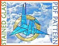 Elegant and lightweight, this stained glass origami crane pattern has only 17 pieces.  Most of the cuts are easy straight lines, the only curves are on the outer ring.  Click on the pick to get the pattern!