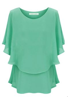 ADS Women's Large Size Round Neck Chiffon Blouse Dress L Green (Asia Size) ADS http://www.amazon.com/dp/B00KILNIGO/ref=cm_sw_r_pi_dp_Bqr7tb0DN2F7W