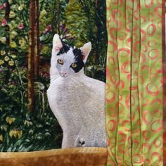 Thread painting by Jodi Scaltreto seen at an SAQA meeting (this is a cat quilt close up!)