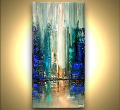 Modern 30 x 15 ORIGINAL City Acrylic Painting Teal by OsnatFineArt