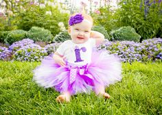 Purple Polka Dot Birthday Tutu Outfit and Matching by Zobows, $37.00