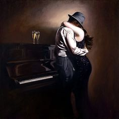 The Girl In The Sequin Dress Richard Blunt Piano Jazz, Modern Art Paintings, Paintings I Love, Blunt Art, 3 Way Mirrors, Tango Art, Fabian Perez, Books For Moms, The Embrace