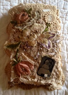 Fabric Book 'TIN TYPE LOVE' Linen Lace Altered Book Tea Stained Large journal Tin Types