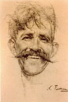 Nicolai Fechin: Laughing Man with Mustache -- date unknown