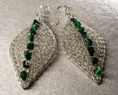Knitted leaf earrings with wire!