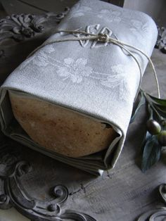 A homemade gift wrapped in a cloth napkin