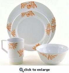 Coral Reef Pattern Melamine Dinnerware